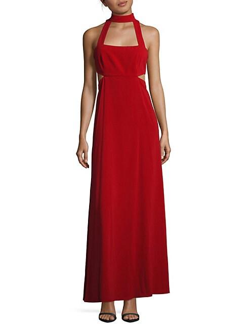 Mockneck Sleeveless Cutout Gown