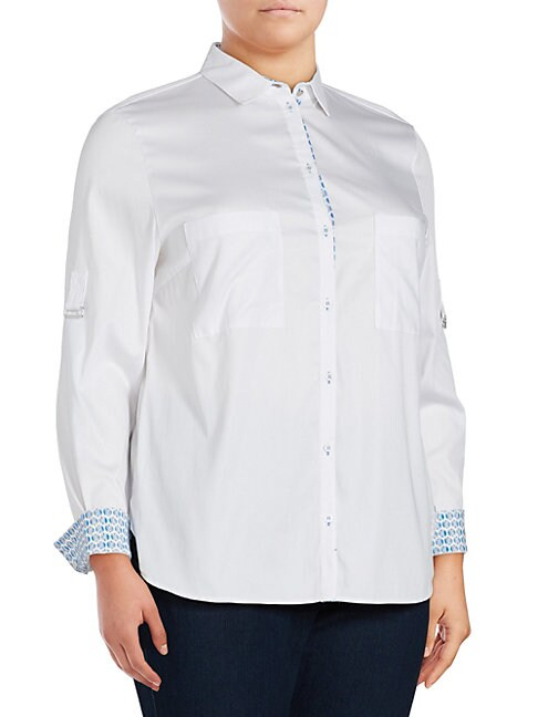 BASLER | Solid Point-Collar Button-Down Shirt | Goxip