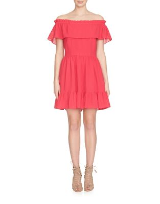 CYNTHIA STEFFE Off-The-Shoulder Ruffle Dress in Rose Red