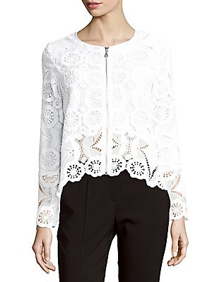 Long-Sleeve Lace Bomber Jacket