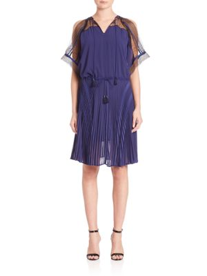 OHNE TITEL Cold-Shoulder Pleated Dress in Navy