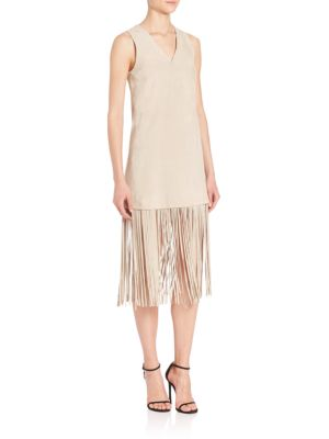 THEPERFEXT Lucy Suede Fringe-Hem Dress in Oatmeal