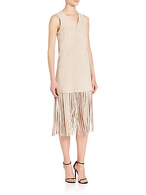 Lucy Suede Fringe-Hem Dress