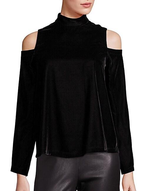 656d7636c762db Saks Fifth Avenue Collection Velvet Cold Shoulder Turtleneck In Black ...