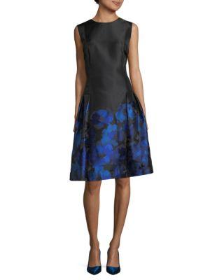 Carmen Marc Valvo  Floral Sleeveless Dress