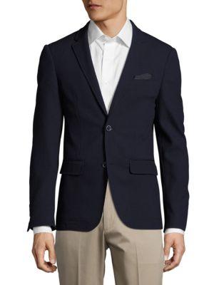 SAND Slim-Fit Wool Textured Blazer in Navy
