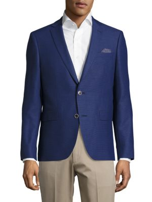 SAND Slim-Fit Wool Textured Sportcoat in Blue