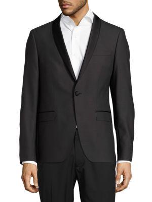 SAND Slim-Fit Wool Shawl Collar Evening Jacket in Black