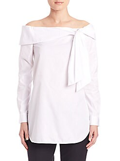 Tibi - Cotton Off-the-Shoulder Bow Top