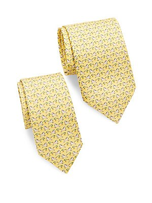 Zebra-Print Silk Tie/Set of 2