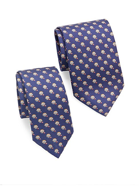 Owl-Print Silk Tie/Set of 2