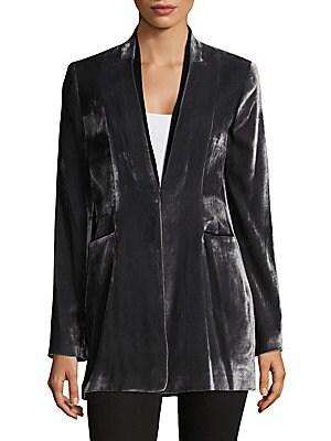 V-Neck Velvet Jacket
