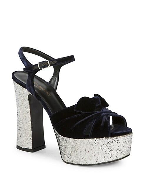 Candy Velvet & Glitter Platform Sandals