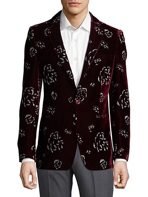 Silver Printed Velvet Jacket