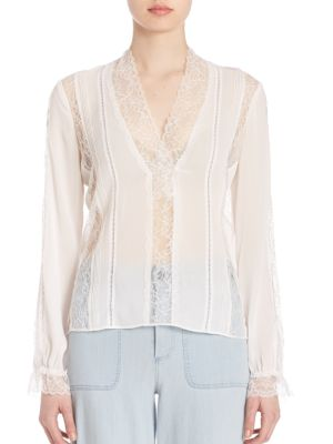 Alice And Olivia Tops Renesmee V-Neck Lace Top