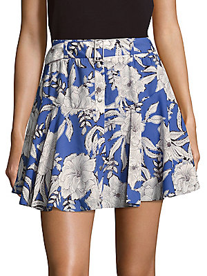 Floral-Print Flared Mini Skirt