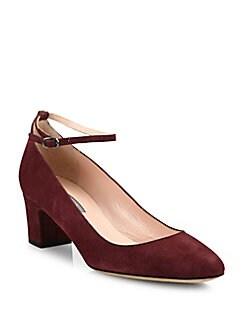SJP by Sarah Jessica Parker - Ingenue Suede Ankle-Strap Block-Heel Pumps