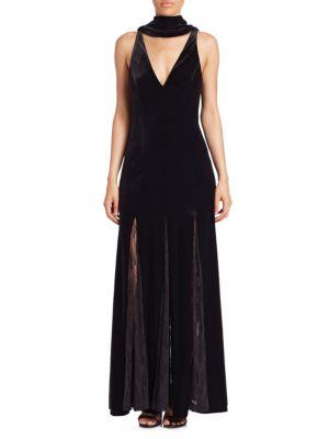 Nicholas  Velvet Lace Insert Gown