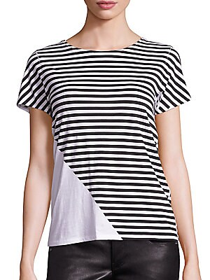 Cotton Colorblock Striped Tee