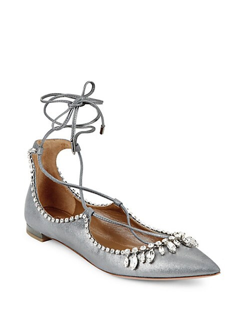 Christy Jewel Metallic Suede Lace-Up Flats