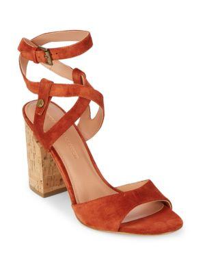 SIGERSON MORRISON Paulina2 Block Heel Suede Sandals in Red