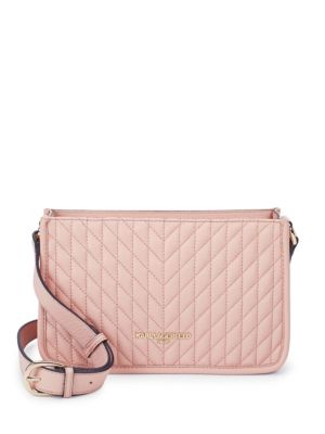Karl Lagerfeld  CHREVRON QUILTED LEATHER CROSSBODY BAG