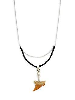 MHART - Shark Tooth, Black Spinel & Quartz Necklace