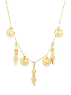 18K Gold & Sterling Silver Dagger & Coin Necklace