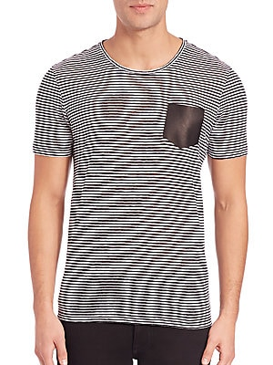 Leather-Pocket Striped Tee