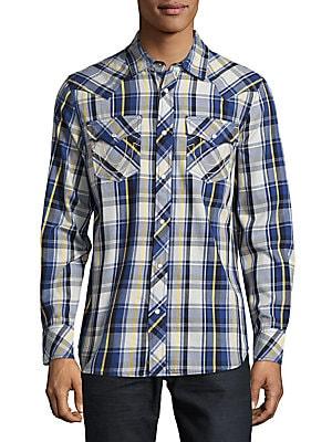 Windowpane Plaid Cotton Shirt
