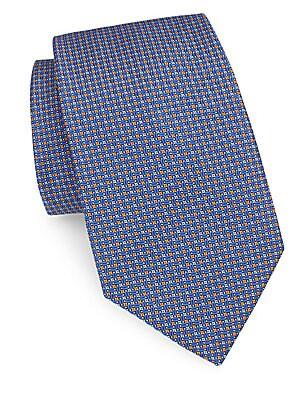 Micro Floral Print Silk Tie