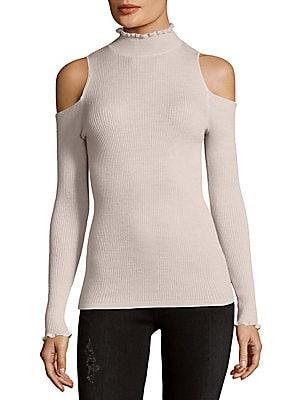 Ribbed Wool Cold Shoulder Top