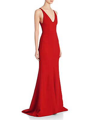 Textured Crepe V-Neck Gown
