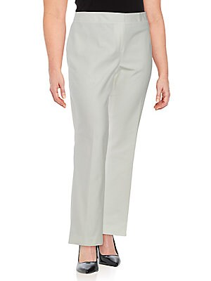 Plus Size Solid Cotton Trousers