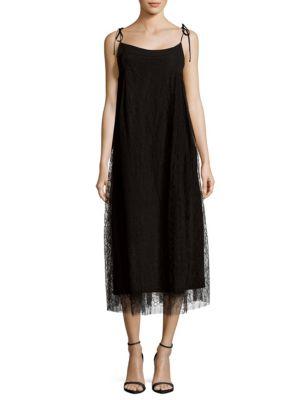 Adam Lippes Silks Floral-Lace Trapeze Dress