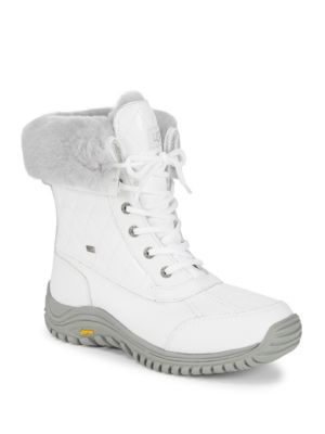 Adirondack Quilted Faux Fur-Trim Winter Boots, White