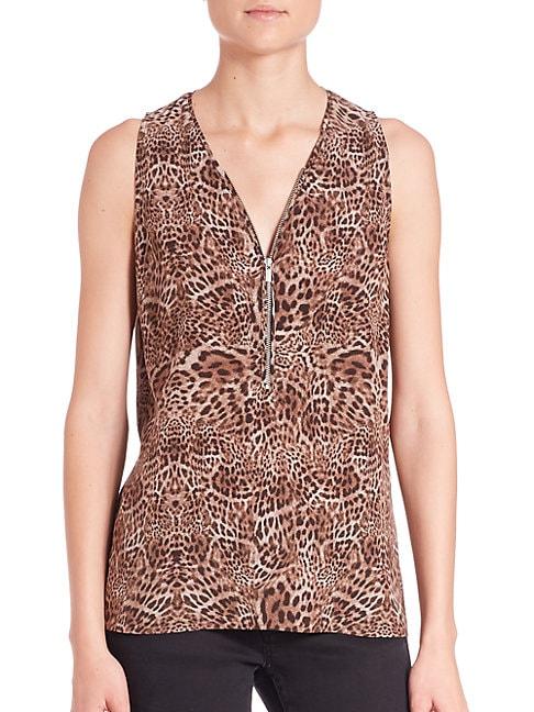 Silk Leopard-Print Top
