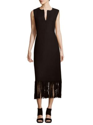 Adam Lippes Knits Textured Fringed Dress