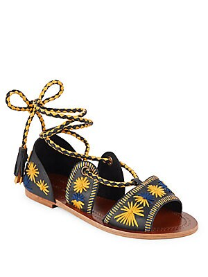 Flow Embroidered Lace-Up Sandals