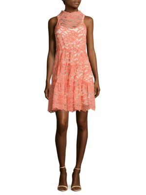 ERIN BY ERIN FETHERSTON Posie Scalloped Lace Dress in Coral