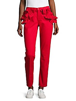 J Brand - Ruffled Slim-Fit Ankle Jeans/Red