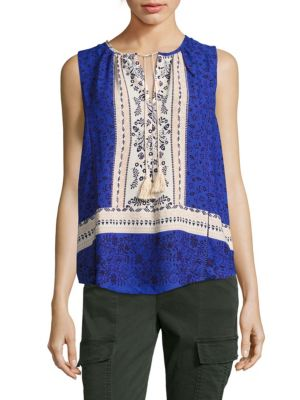 COLLECTIVE CONCEPTS Printed Tassel Tank Top in Cream Blue