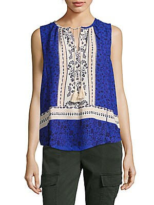 Printed Tassel Tank Top