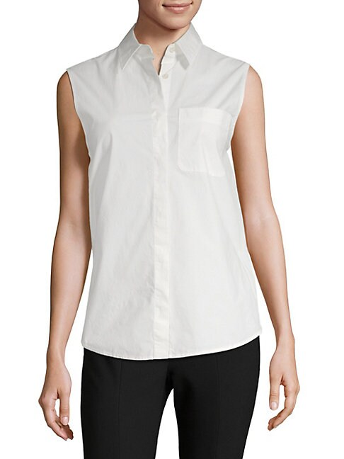 Wrap-Back Sleeveless Poplin Blouse