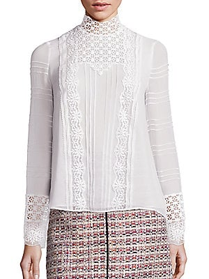 Macrame Lace Silk Blouse