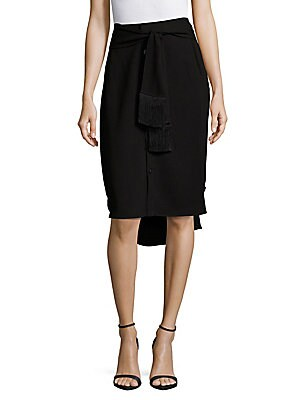 Solid Fringed Pencil Skirt