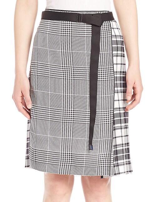 Calvin Klein Runway Houndstooth & Plaid Silk Skirt