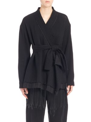 MS MIN Ribbed Wool Kimono Coat in Black