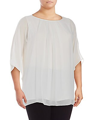 Solid Batwing Pleated Top