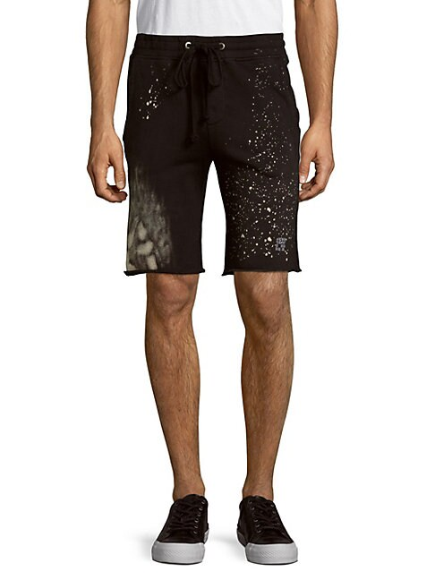 Cotton Splatter-Paint-Print Shorts